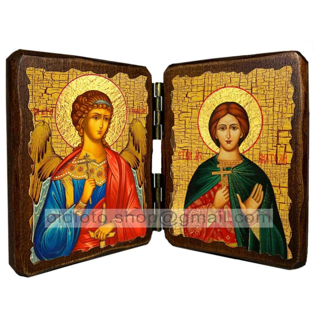 Икона Анатолий Святой Мученик Никейский  ,икона на дереве 260х170 мм