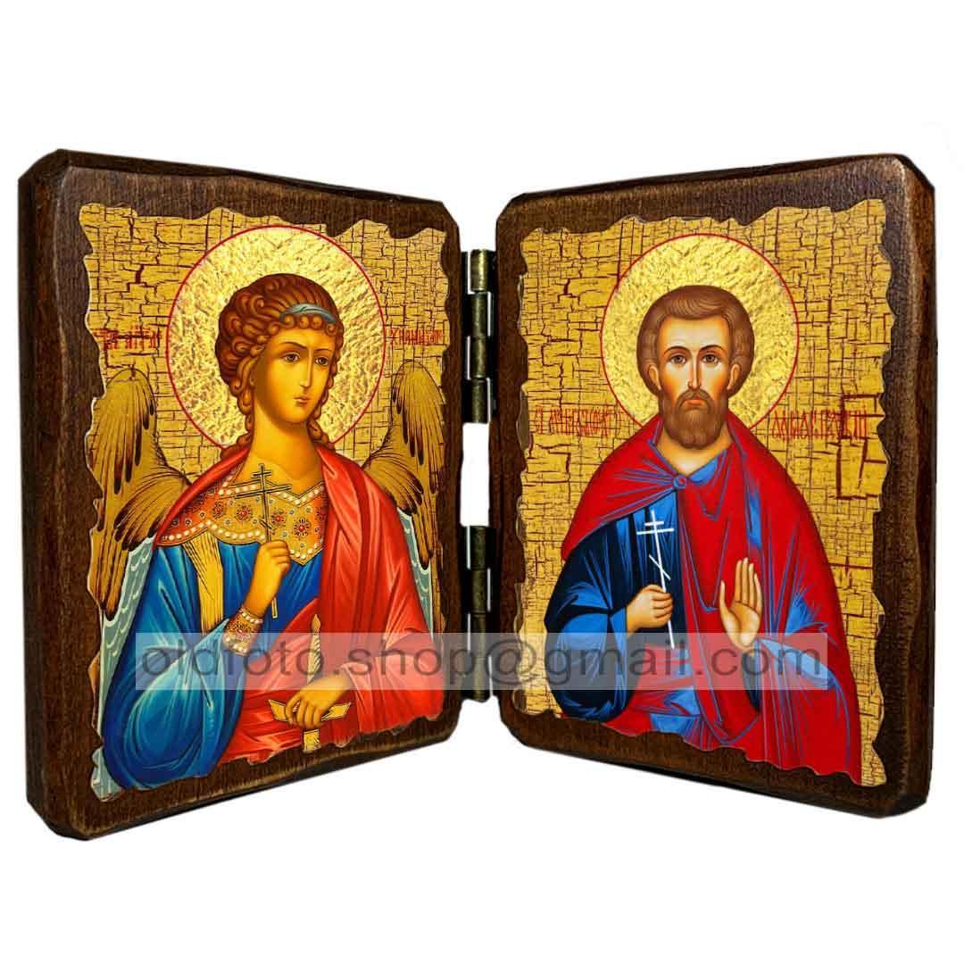 Икона Богдан (Феодот) Святой Мученик Адрианопольский  ,икона на дереве 260х170 мм