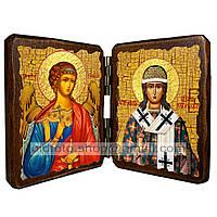Икона Никита Новгородский (складень двойной 140х100мм)