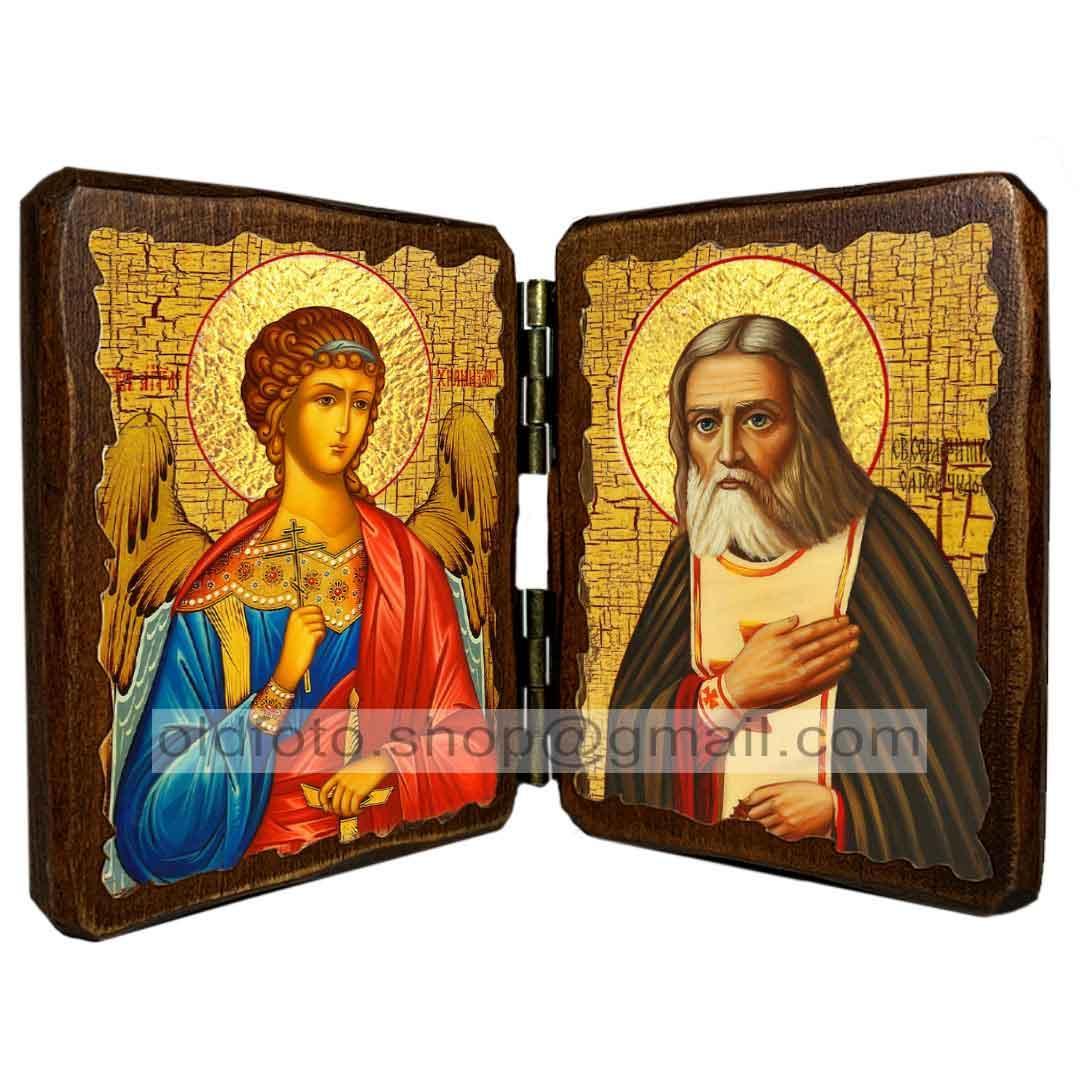 Ікона Преподобний Серафим Саровський (складень подвійний 260х170 мм)