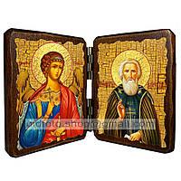 Икона Сергий (Сергей) Святой Радонежский (складень двойной 140х100мм)
