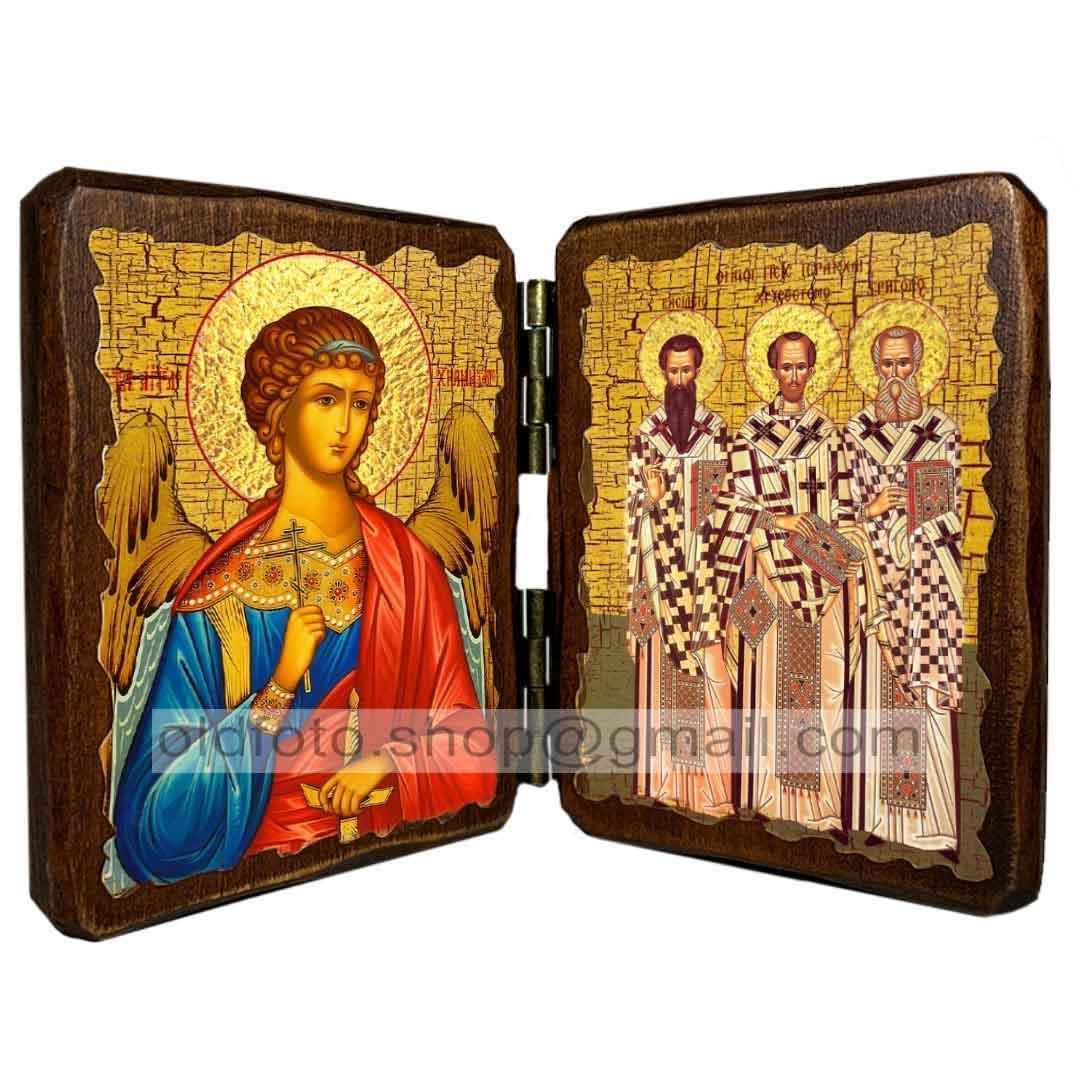 """Ікона Три святителя """"Василь Великий, Григорій Богослов та Іоанн Златоуст"""" (складень подвійний 260х170 мм)"""