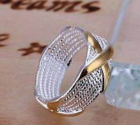 Кольцо Крестик 16, 17, 18,19 размер Стерлинговое Серебро 925 проба (Покрытие), фото 1