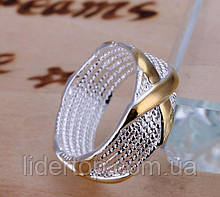 Кольцо Крестик 16 размер Стерлинговое Серебро 925 проба (Покрытие)