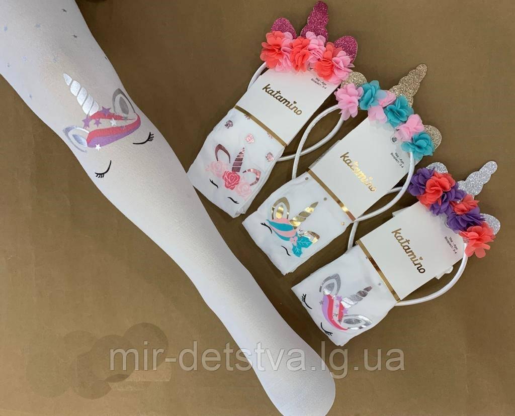 Комплект (колготки 50 DEN +обруч) для дівчаток TM Katamino оптом, Туреччина р. 5-6 (110-116 см)