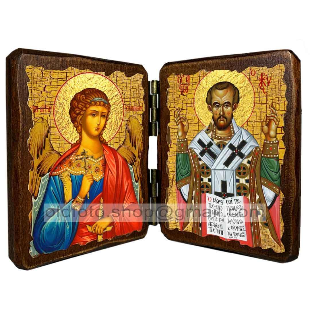 Икона Иоанн Златоуст Святитель (складень двойной 140х100мм)