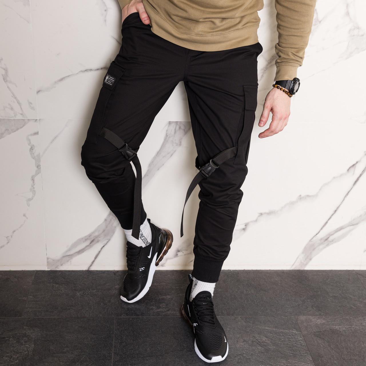 Карго штаны джоггеры со стропами и фастексом черные мужские от бренда ТУР Ёсимицу (Yoshimitsu)