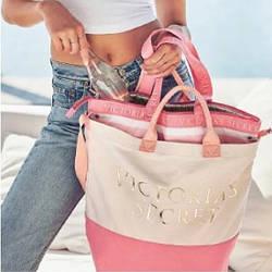 💋 Пляжная Термо-сумка Victoria's Secret 2 in 1 Cooler Zipped Tote Bag, Розовая