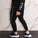 Спортивные штаны мужские черные с тонким белым лампасом от бренда ТУР модель Рейн (Rain), фото 3