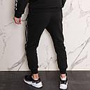 Спортивные штаны мужские черные с тонким белым лампасом от бренда ТУР модель Рейн (Rain), фото 4