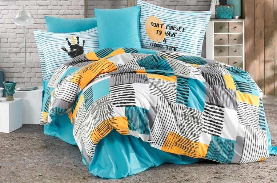 Постельное белье 1,5-спальное HOBBY Bermuda бирюза