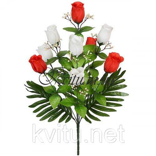 Искусственные цветы букет бутон красно-белый с пальмой, 57см