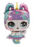 """Фольгированный шар """"Кукла L.O.L Единорожка"""" Размер:77см*47см."""
