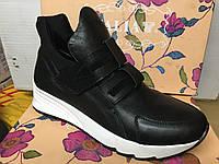 Женские классичессие  кроссовки черные кожаные  на липучках 36