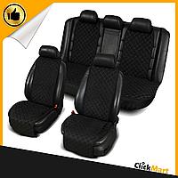 Накидки, авточехлы на сидения автомобиля Алькантара стиль, Черные, полный комплект широкие