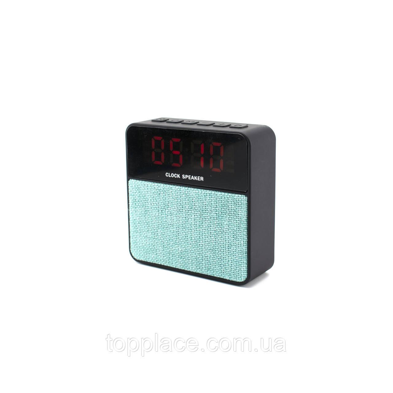 Настольные электронные часы T1 c Bluetooth и FM, Черный с голубым