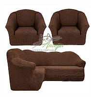 Чехлы универсальные на угловой диван и два кресла без оборки Concordia (жатка-креш) 201 шоколад