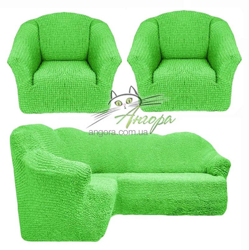 Чехлы универсальные на угловой диван и два кресла без оборки Concordia (жатка-креш) 224 салатовый
