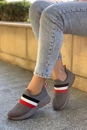 Жіночі кросівки сліпони сірі матові 36, 38, 40 розмір, фото 2