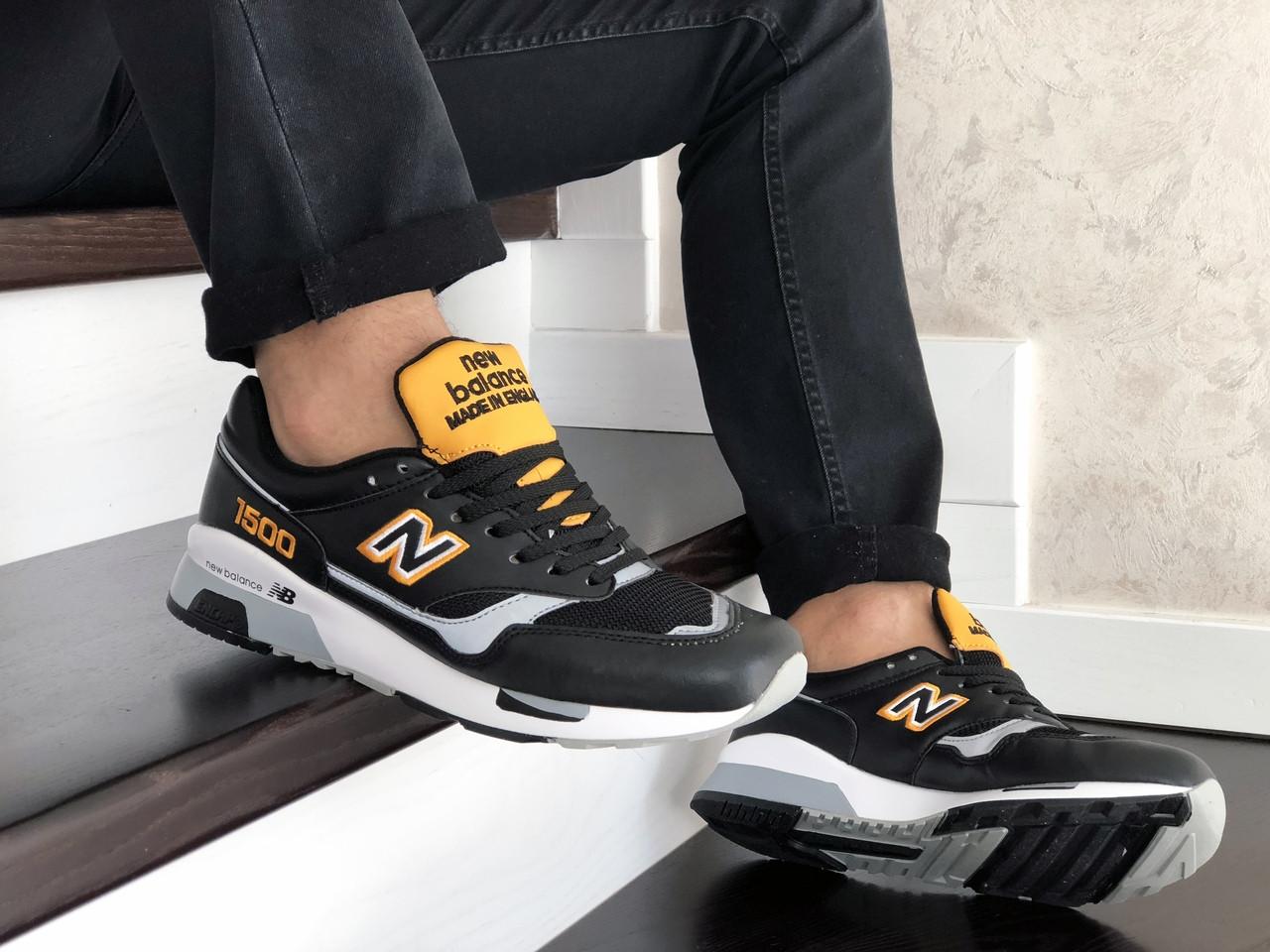 Мужские кроссовки  New Balance 1500 ( реплика) черные с желтым
