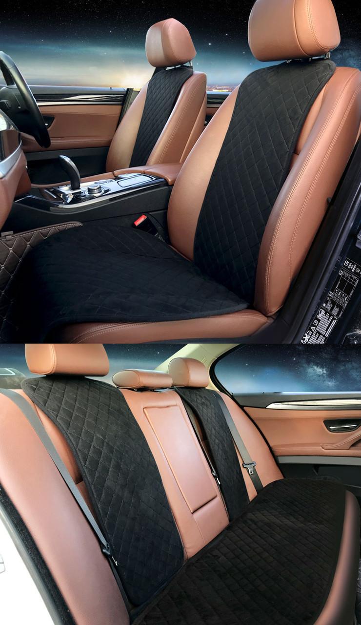 Накидки чехлы на сидения автомобиля из Алькантары Эко-замша задние универсальные защитные авточехлы Черные - фото 3