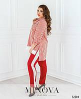 Женский брючный костюм в полоску красный, фото 1
