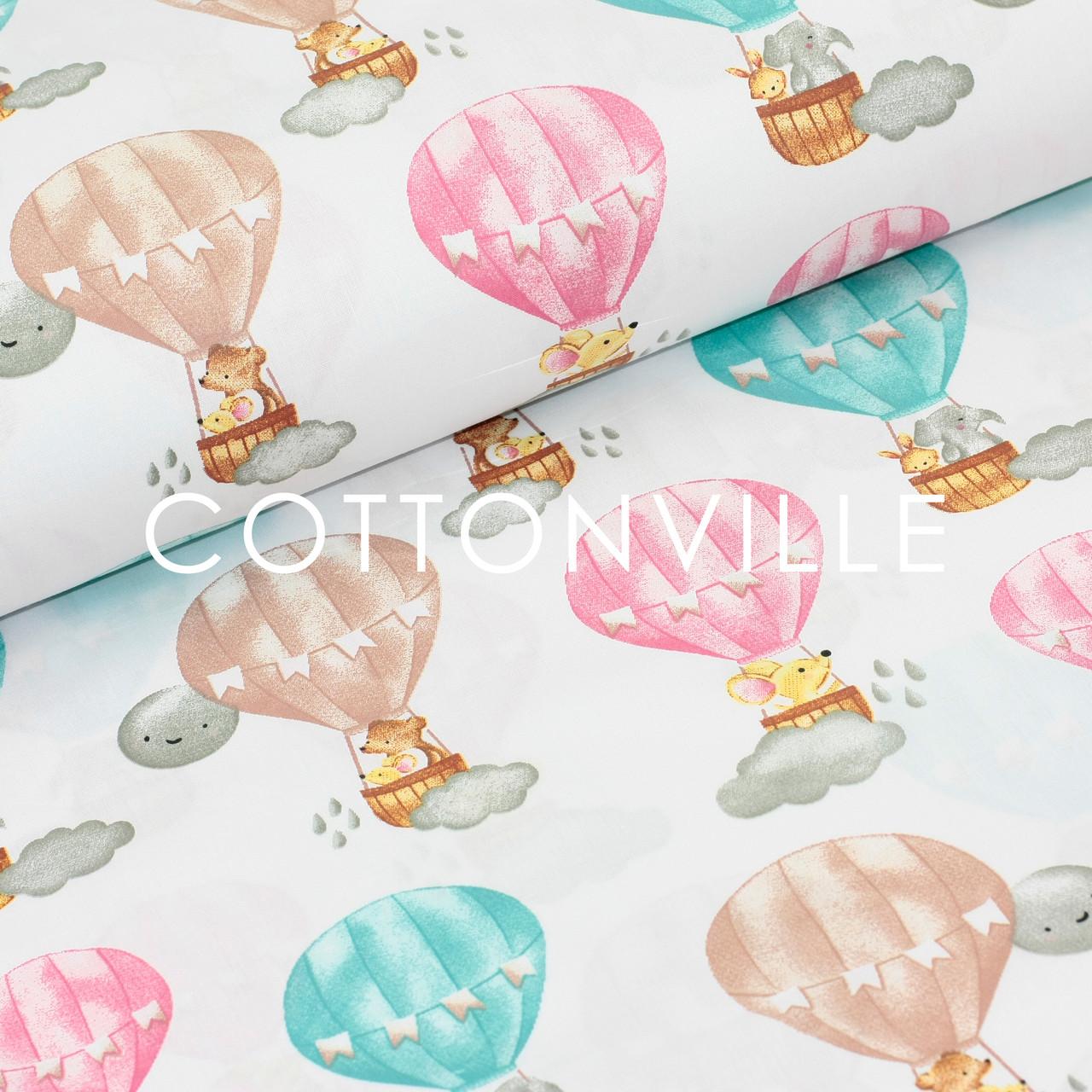 Хлопковая ткань Воздушные шары, мышки