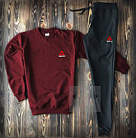 Мужской весенний спортивный костюм, чоловічий костюм Reebok Sport, рибок (бордо+черный), Реплика