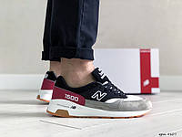 Мужские кроссовки  New Balance 1500 ( реплика) черно серые с вишневым, фото 1