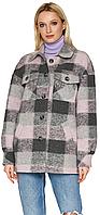 Женское демисезонное пальто Nio Collection Сабина Розовый, шерстяное пальто в клетку