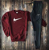 Мужской весенний спортивный костюм, чоловічий костюм Nike Air Force (бордо) Sport, Реплика