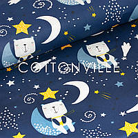 Хлопковая ткань Медвежата на луне, синяя, фото 1