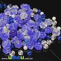 Бусины чешское стекло Preciosa 92-Mix-Flower7-Blue, 1 уп (25 г) (BUS-036611)