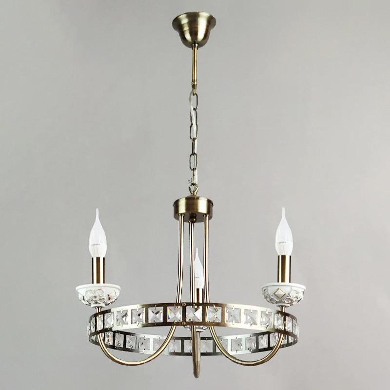 Люстра подвесная свечи на три лампы NM-814706/3 AB бронза