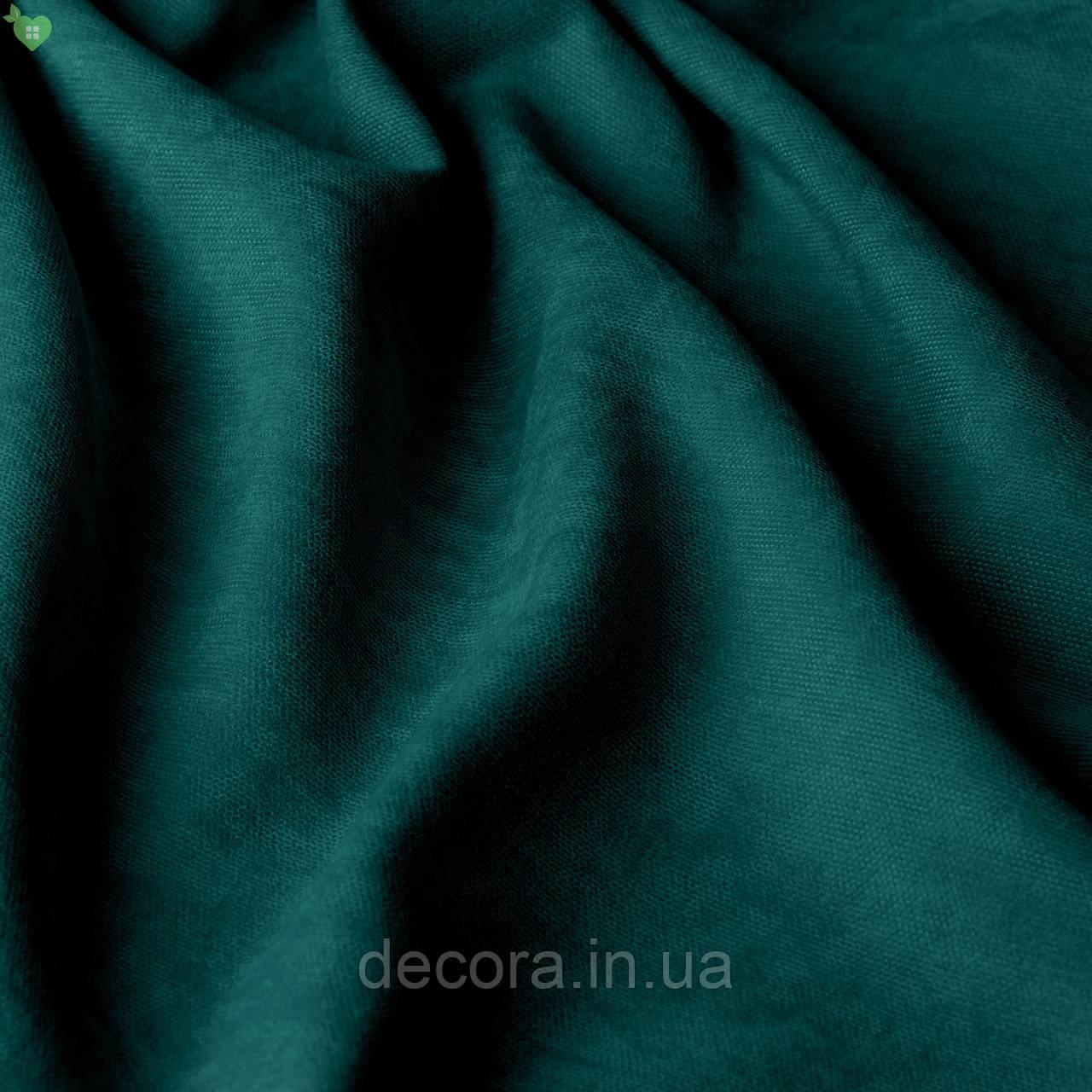Римська штора із однотонної тканини велюр, темний смарагд 121000v22