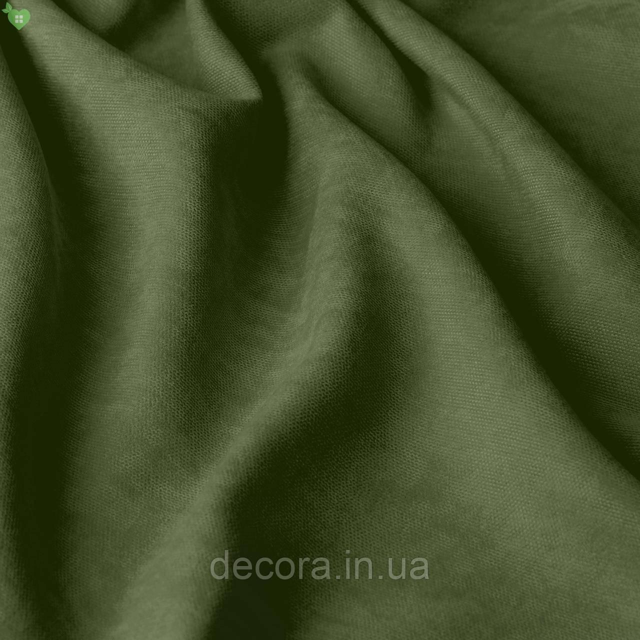 Римська штора із однотонної тканини велюр, темно-оливковий 121000v24