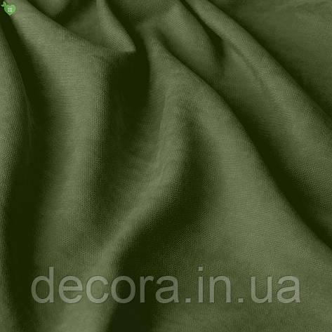Римська штора із однотонної тканини велюр, темно-оливковий 121000v24, фото 2