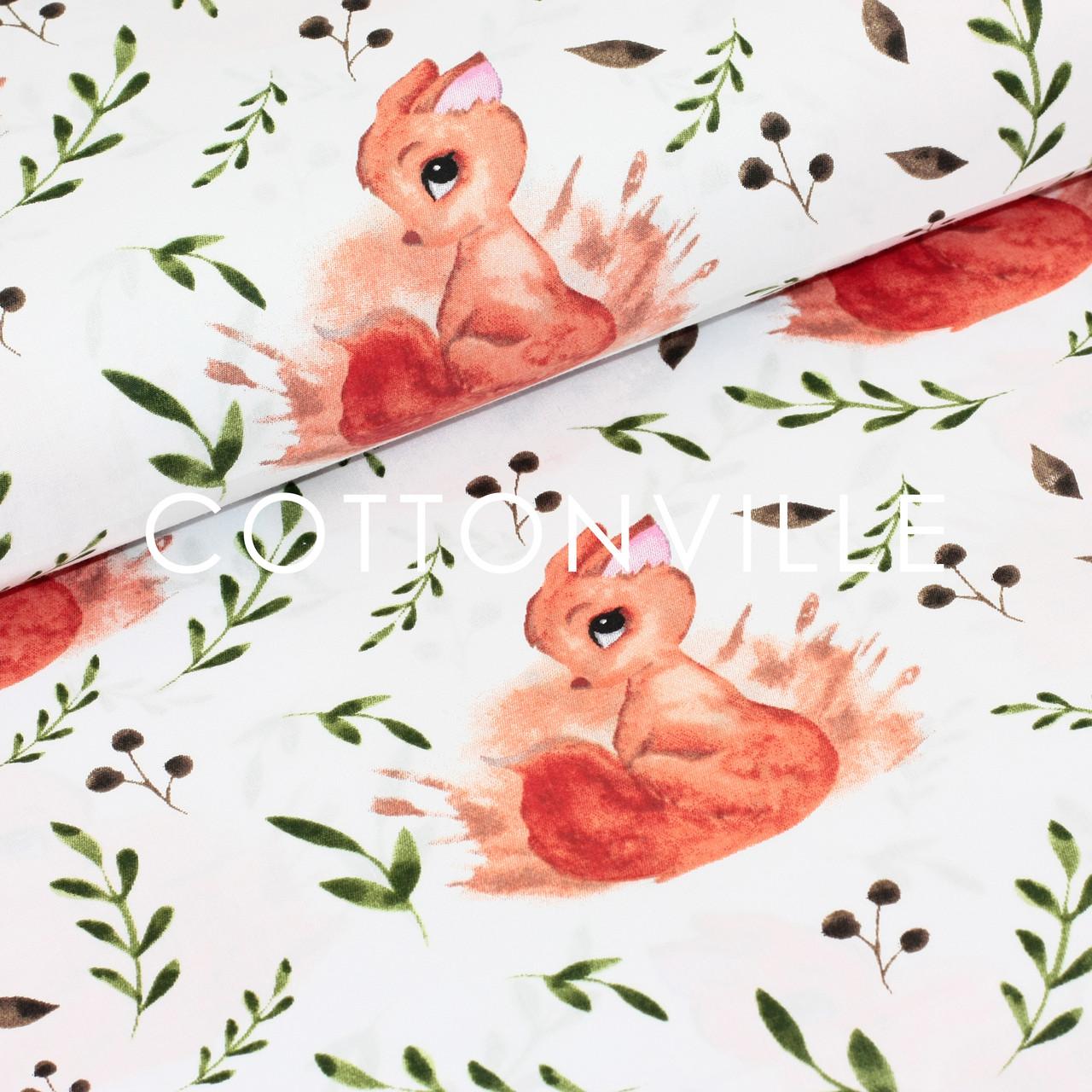 Хлопковая ткань Белочки