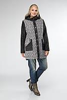 Модное женское пальто большого размера 48, 50, 52, 54 р серого цвета