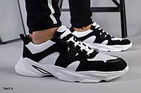 Кросівки чоловічі чорно-білі з натуральної шкіри з перфорацією, фото 1