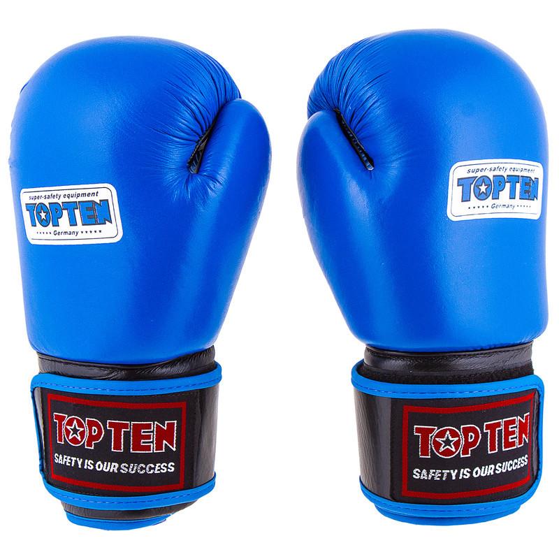 Боксерские перчатки TopTen, кожа, 10oz синий
