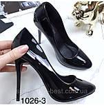 Чорні лакові туфлі з заокругленим носком, фото 2