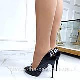 Чорні лакові туфлі з заокругленим носком, фото 4