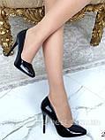 Туфлі жіночі класичні чорні лакові,круглий носик, фото 7