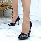 Туфлі жіночі класичні чорні лакові,круглий носик, фото 8