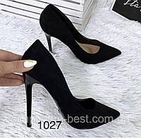 Туфлі жіночі класичні  чорні еко замш, фото 1