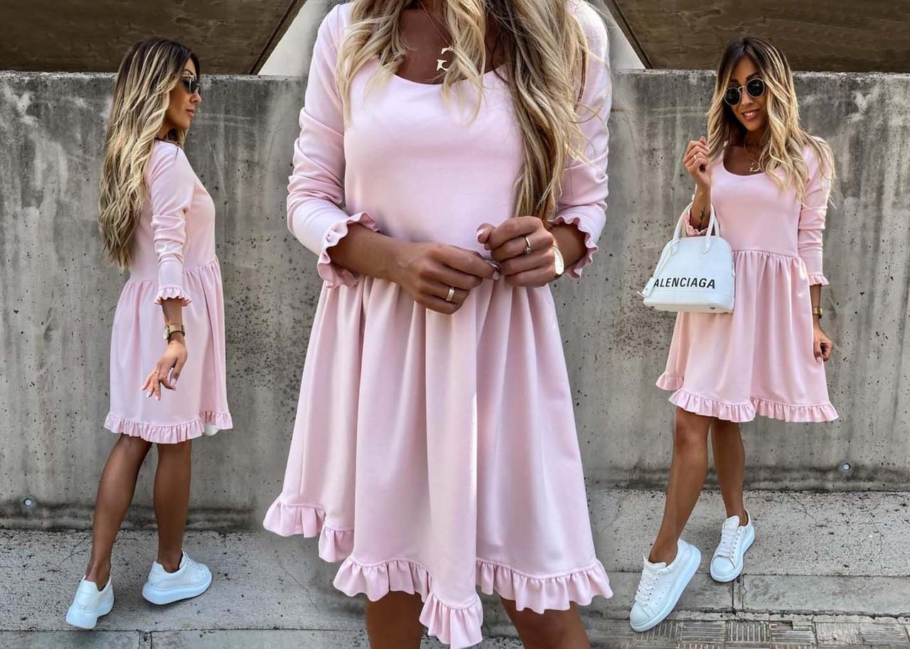"""Женское стильное короткое платье 322 """"Креп Волан"""" в расцветках"""
