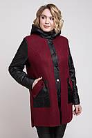 Модное женское пальто большого размера 48, 50, 52 р цвет бордовый