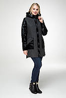 Модное женское пальто большого размера 48, 50, 52 р цвет темно-серый
