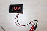 Вольтметр DC 0-110V (V85) Red цифри, фото 2